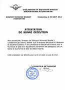 ATTEST B EXECUTION AEROGARE CNE EQUIPEMENTS PASSAGERS  M
